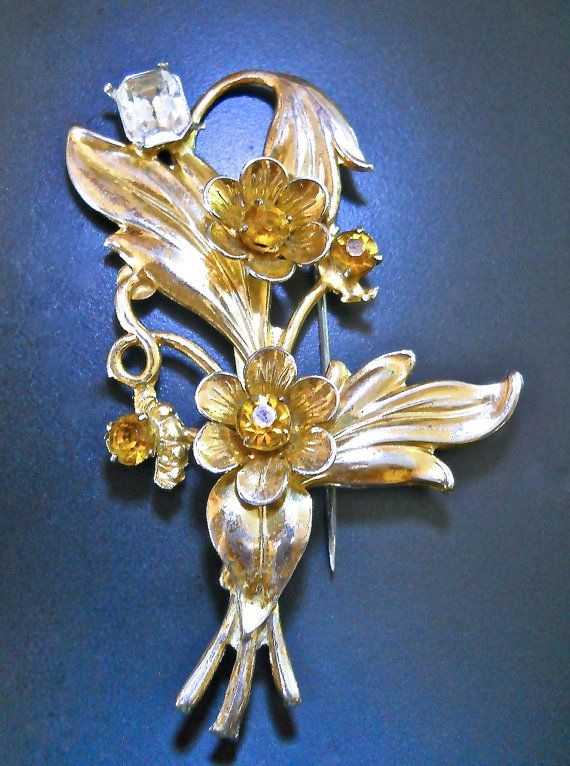 A art nouveau sterling silver brooch in floral gold wash with citrine rhinestones and vintage:  Gorgeous sterling silver Art Nouveau brooch with