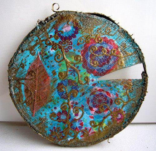 "Wood Plate ""Elegant Blue 2"""