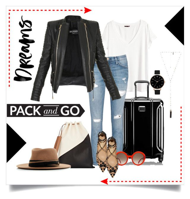 PACK and GO | Dreams by bosko on Polyvore featuring polyvore, fashion, style, H&M, Balmain, Current/Elliott, Salvatore Ferragamo, Tumi, Marni, Olivia Burton, Natalie B, MAISON MICHEL PARIS, Alexander McQueen, clothing and Packandgo