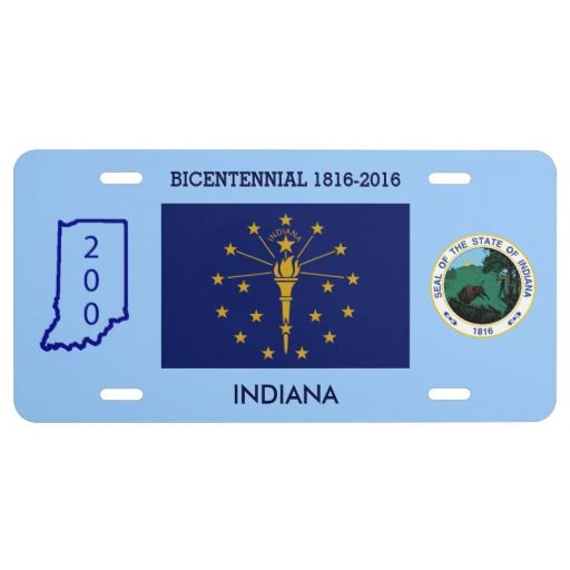 Indiana Bicentennial Custom Front License Plate