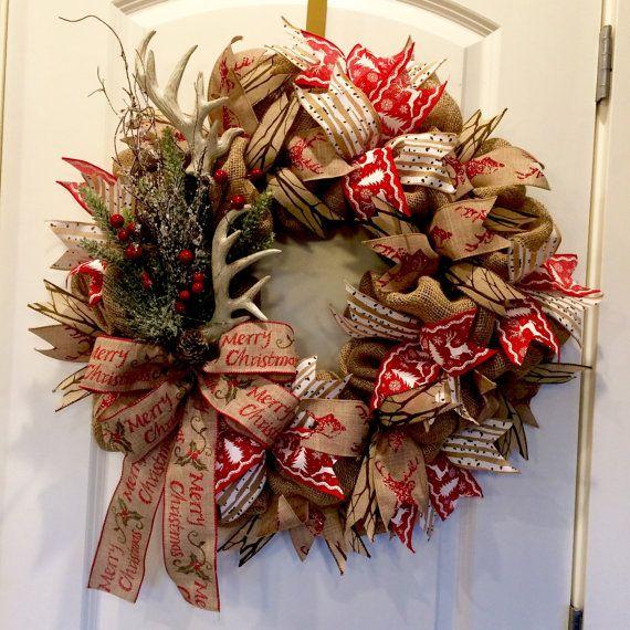 10 best wreath making images on pinterest christmas for Antler christmas wreath