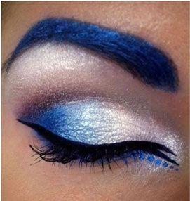 Crazy Eye Makeup | Blue and silver color eye makeup