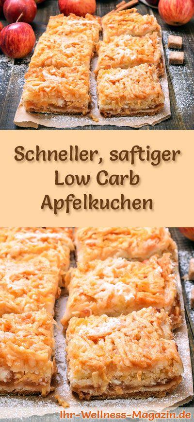 Rezept für einen saftigen Low Carb Apfelkuchen: Der kohlenhydratarme, kalorienreduzierte Kuchen wird ohne Zucker und Getreidemehl zubereitet ...