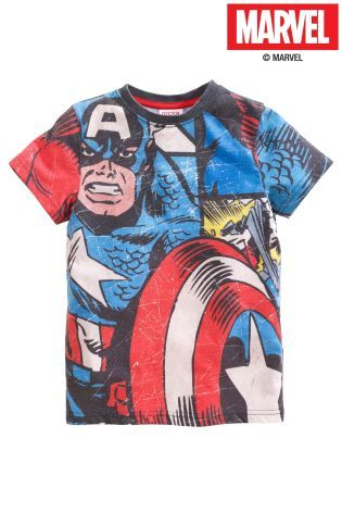 Buy Blue Captain America™ Short Sleeve T-Shirt (3-14yrs) from the Next UK online shop