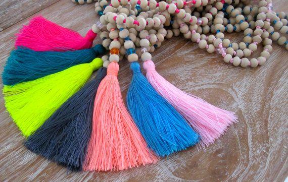 White Wooden Tassel Necklace- Long Wooden Beaded, Bright Tassel, Mala Prayer Beads