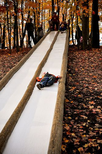 This looks like fun!  Taken at Patterson Farms in Ohio, this slide is 50 feet long and is hidden in the woods next to a big wooden fort!
