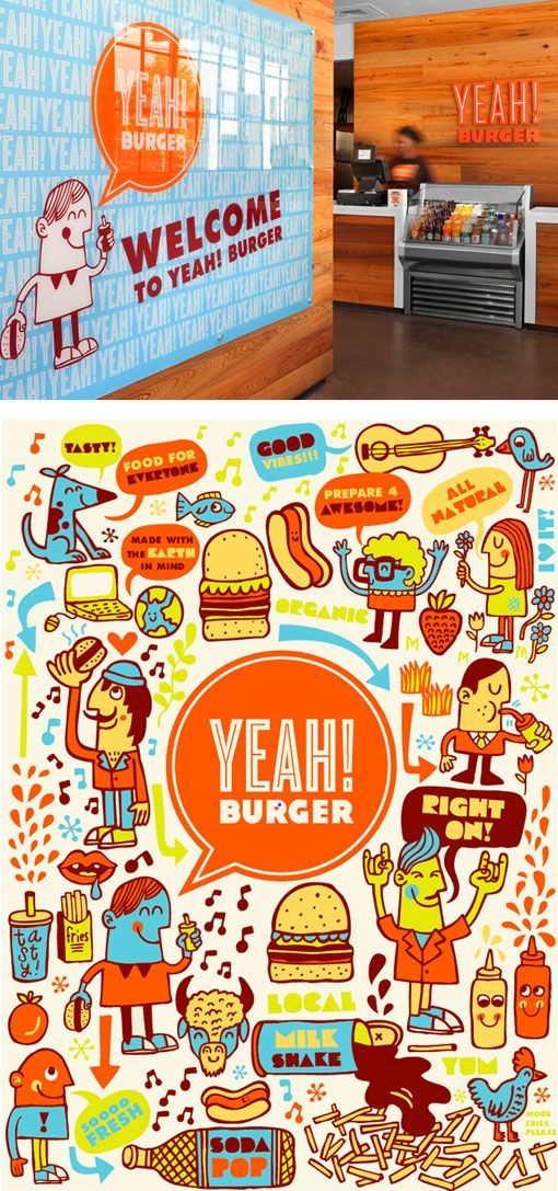 Part of Tad Carpenter's wonderful branding for Atlanta-based Yeah! Burger.  I've never had a Yeah burger but this looks cool.