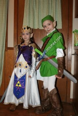 DIY Zelda and Link Child Halloween Couple Costume Ideas: My video-game loving kids wanted to be Zelda and Link for Halloween, what a challenge!    Zelda's dress was an actual dress pattern, and by far the easiest