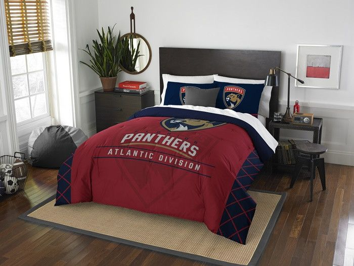 Florida Panthers NHL Draft Full-Queen Comforter Set. Includes 2 Shams and Comforter.  Visit SportsFansPlus.com for Details.