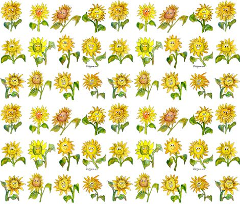 11 best cartoons on fabric wallpaper and gift wrapfun images cute cartoon funny face sunflowers on fabric by lillyarts on spoonflower custom fabric negle Image collections