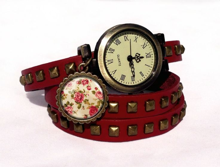 Leather watch bracelet - Retro roses, 0218WRC  from EgginEgg by DaWanda.com