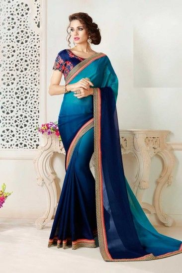 87d1017281ecf Blue Chiffon Saree With Blouse - DMV11766