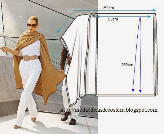 PASSO A PASSO MOLDE DE CAPA/PONCHO Corte um retângulo de tecido com a altura e largura que pretende. Dobre a meio o retângulo. Desenhe uma linha na lateral