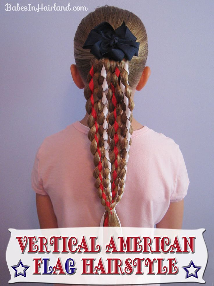 Another 4th of July Hairstyle! Vertical American Flag