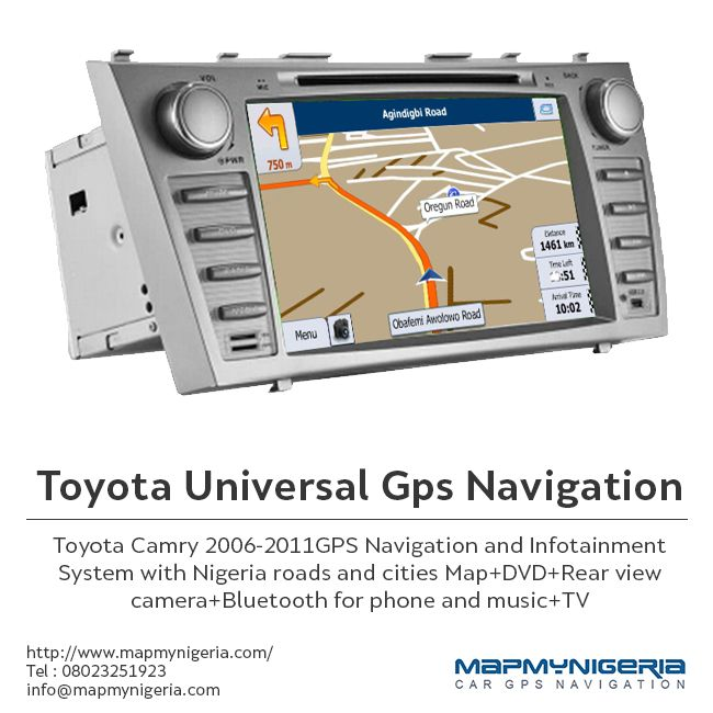 Make traveling to different destinations in Nigeria and other African countries easy and convenient. Simply buy Toyota Universal Gps Navigation of MapmyNigeria and ensure special features like infotainment system, Nigeria roads and cities maps, Bluetooth, TV and rear view camera. The best part is that the GPS system fit even most of the old Toyota cars. Explore our website for details http://www.mapmynigeria.com/