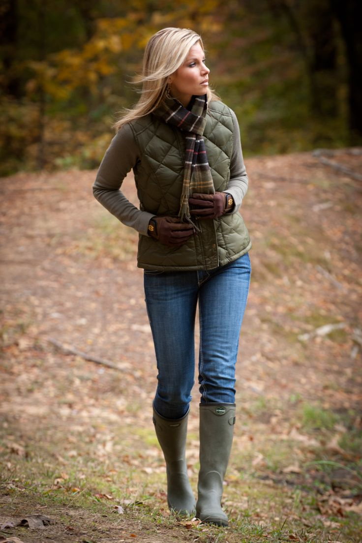 Barbour cashmere scarf in classic tartan, Le Chameau Country Lady boot. All available at www.circle7online.com