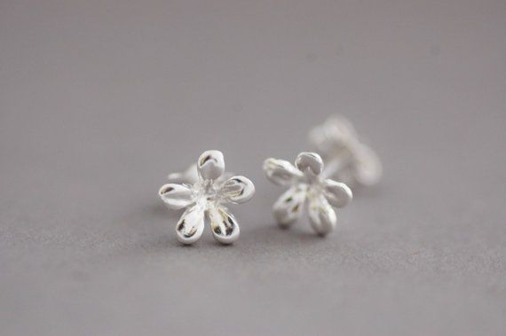 Silver Flower Studs Sterling Silver Flower by CherryBlossomJewels0, £15.00
