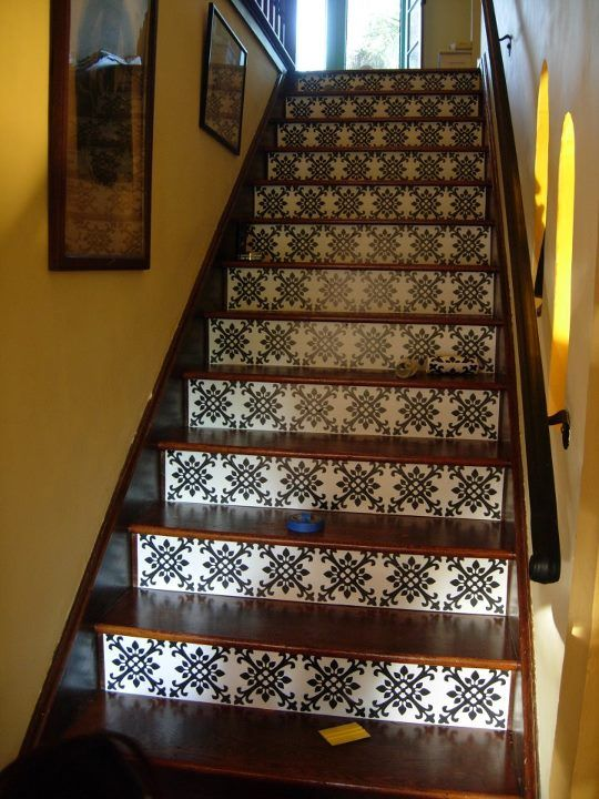 A gorgeous staircase photo from one of our fans! She used the Tangier Stripes!: Decor Ideas, Stairca Redo, Brandy Spears, Floral Design, Stencil Patterns, Basements Stairs, House Stuff, Stairs Ideas, Spanish Style