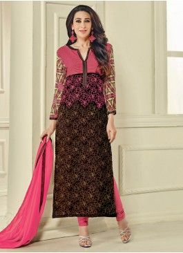 Striking Brown and Pink Coloured Georgette Semi-Stitched Designer Salwar Suit