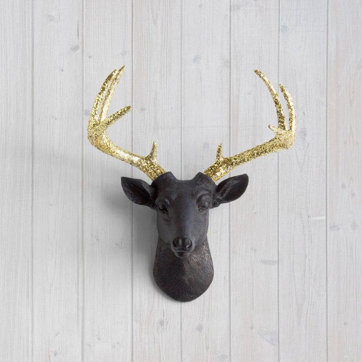 Negro Mini venado oro brillo de pared Charmers™ por WallCharmers