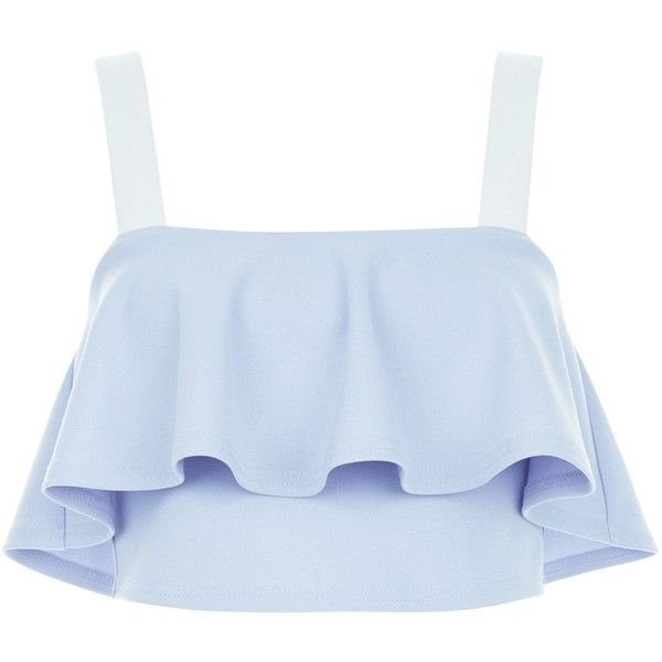 New Look Blue Colour Block Frill Trim Crop Top (145 MXN) ❤ liked on Polyvore featuring tops, crop tops, shirts, tank tops, crop, blue pattern, patterned shirts, cut-out crop tops, crop shirt and holiday shirts