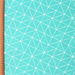 Katoen cretonne met geometrische print op turkooise achtergrond