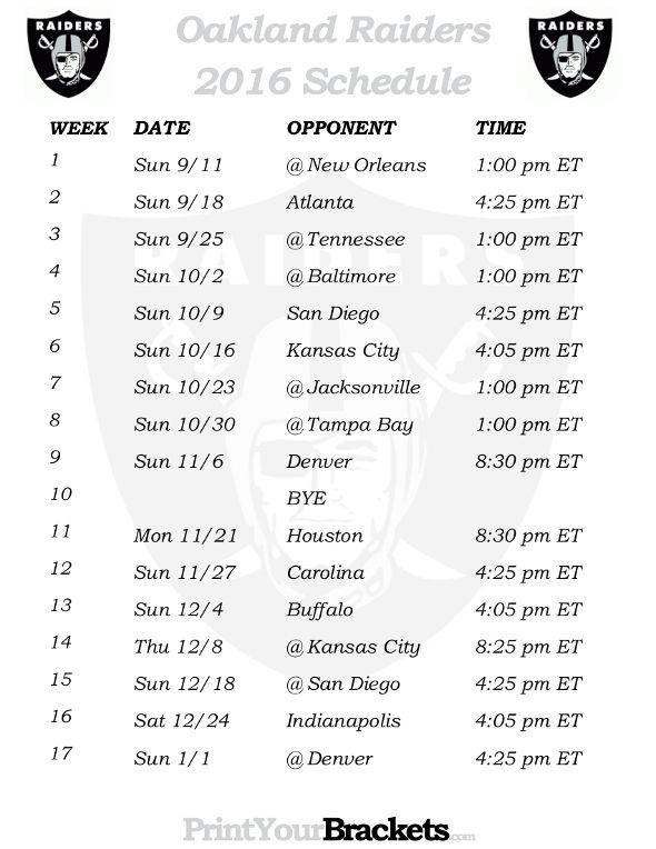 Printable Oakland Raiders Schedule - 2016 Football Season