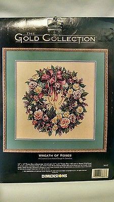 Dimensions-The-Gold-Collection-Wreath-of-Roses-Lena-Liu-Counted-Cross-Stitch