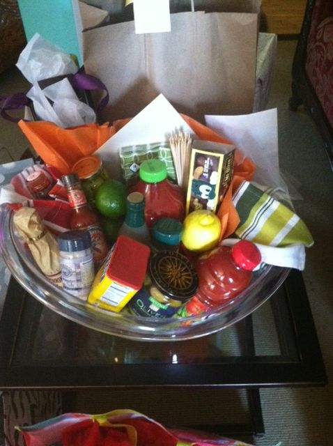 bloody mary gift basket for stock the bar party diy gift ideas pinterest. Black Bedroom Furniture Sets. Home Design Ideas