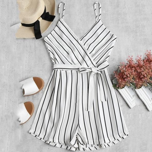 Womens V-Neck Off Shoulder Sling Sleeveless Strappy Holiday Short Playsuits Striped Cami Belt Romper Jumpsuit bodysuit mono #2S 1