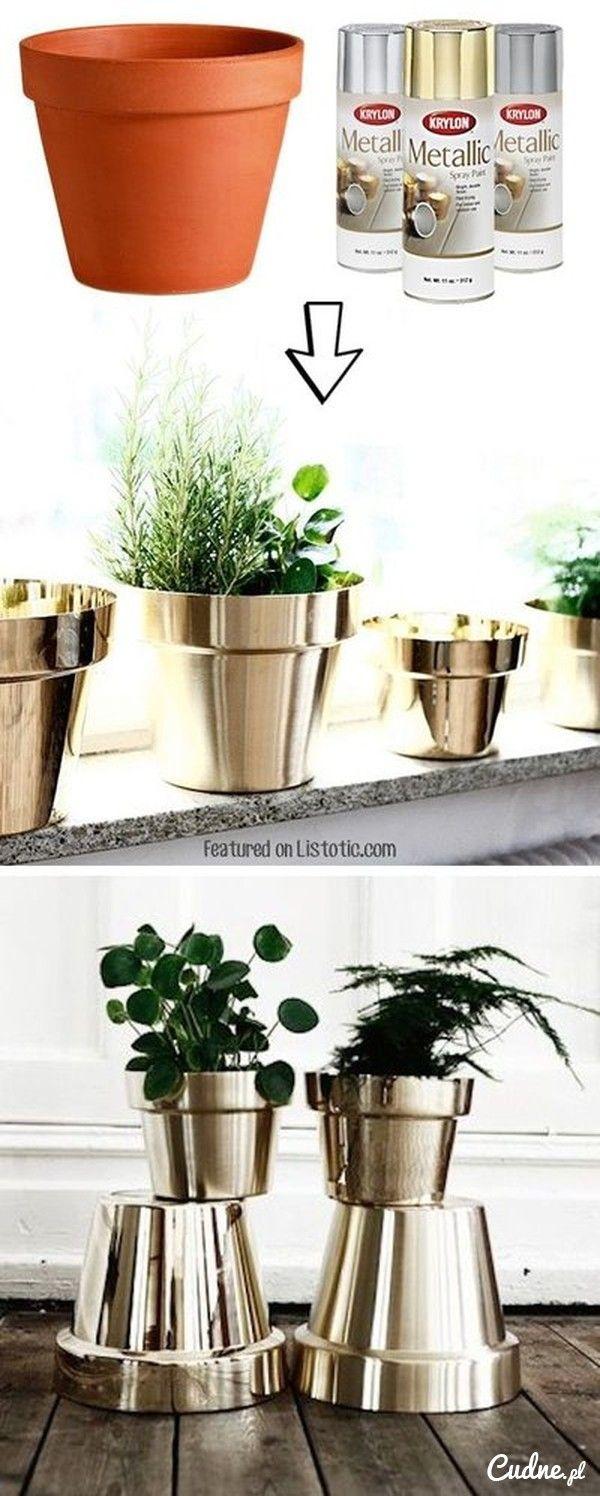 DIY- wyjątkowe doniczki w złocie