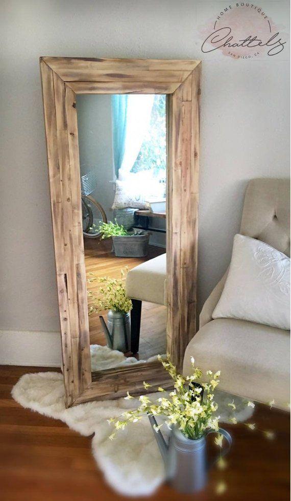 Full Length Mirror Wall Mirror Floor Rustic Mirror Corner Etsy Floor Mirror Decor Floor Mirror Living Room Mirror Decor