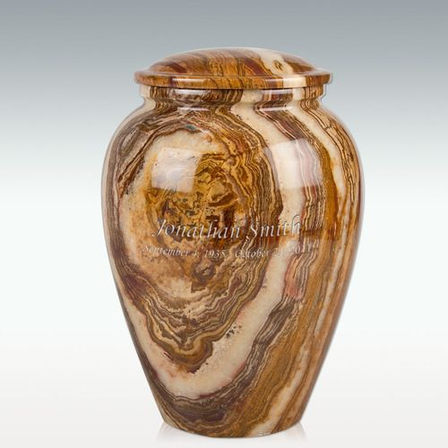 Medium Tiger Eye Marble Grecian Cremation Urn Engravable Cremation Urns And Urn