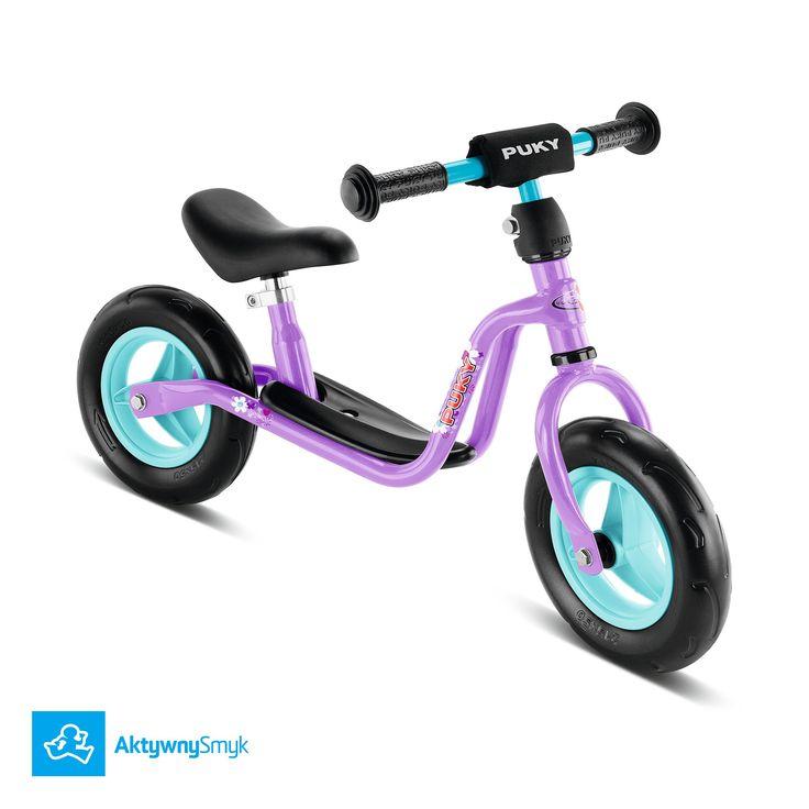 Fioletowy rowerek biegowy Puky LR M posiada regulację siodełka 30-40 cm, regulowaną na wysokość kierownicę bez blokady skrętu i piankowe opony. Rowerek biegowy Puky LRM proponowany jest dla 2 latka.