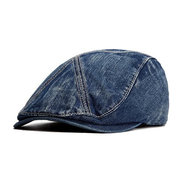 71f7abc89e1 Men Washed Cotton Denim Berets Hat Outdoor Casual Sunscreen Forward Hat