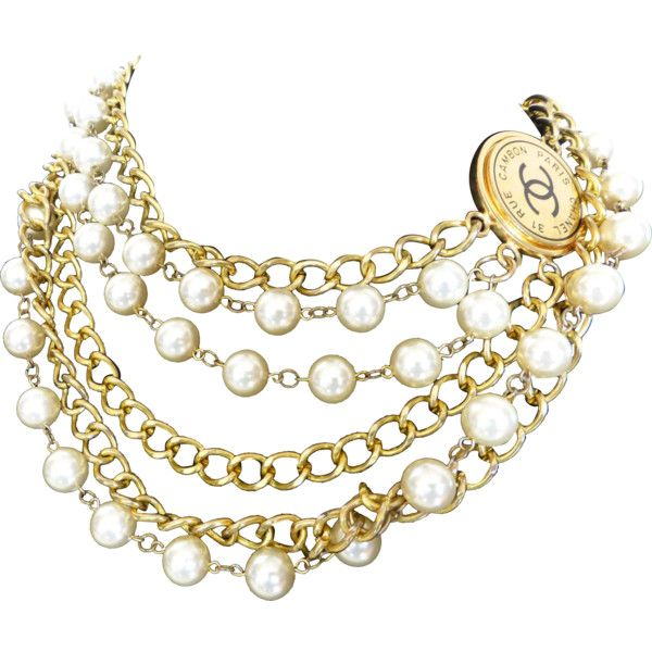 Stunning Chanel Paris New York Gold Tone Chain Faux Pearl Necklace... ❤ liked on Polyvore featuring accessories, belts, chanel belt, gold chain belt, chanel, gold belts and chain belt