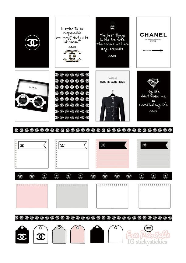 Free Chanel Inspired Planner Stickers | Source: stickystickies