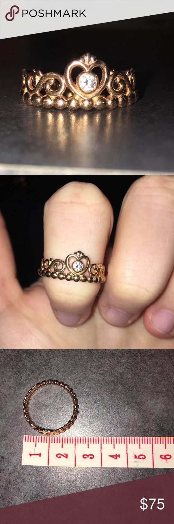 Princess Ring Pandora Rose Gold Princess ring! Great condition! Amazing gift for your best friend or daughter or for yourself!!! Price is negotiable so make an offer! Pandora Jewelry Rings