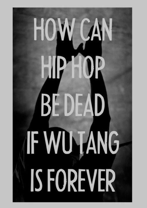 "I don't like the implication that WuTang has anything to do with ""hiphop"". See WuTang is bigger than ""hiphop""... and long after ""hiphop"" is dead Wutang lives on. Fuck you. WuTang is for the children."