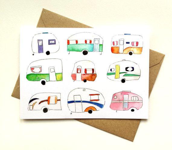 Colourful retro caravan greeting card by Emma Allard Smith