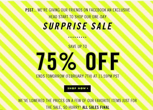 the joy of finding a secret/surprise sale when you are shopping