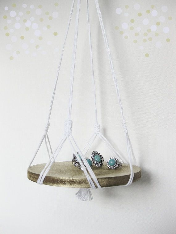 macrame hanger with wood base    white multi by recycledlovers, $25.00