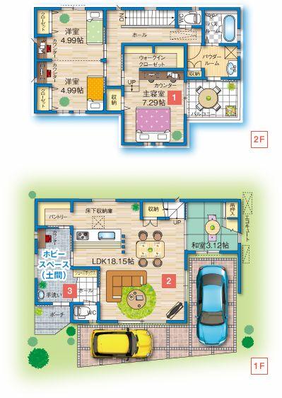 2F 子ども室はデスクまで作りつけたほうがスペース効率がいいのかも?