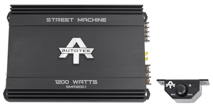 Autotek Street Machine Monoblock Class AB Amp (1,200 Watts) SMA1200.1. Includes remote. Signal to noise ratio > 95 dB. Total harmonic distortion < 0.5 %. Variable input voltage. Low to noise preamp.