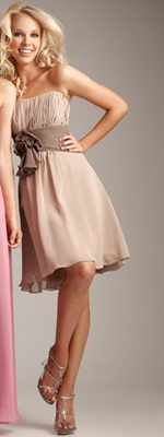 2012 Allure Bridesmaid - Mocha/Stone Gathered Chiffon Empire Waist Bridesmaid Dress - 2 to 28 - Unique Vintage - Cocktail, Pinup, Holiday & Prom Dresses. @Jill Meyers Baxter
