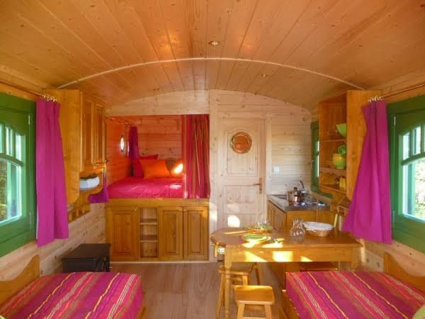 The other day I ran across these gypsy caravans for rent and for purchase in France, and was amazed at how beautiful and spacious the designs were.
