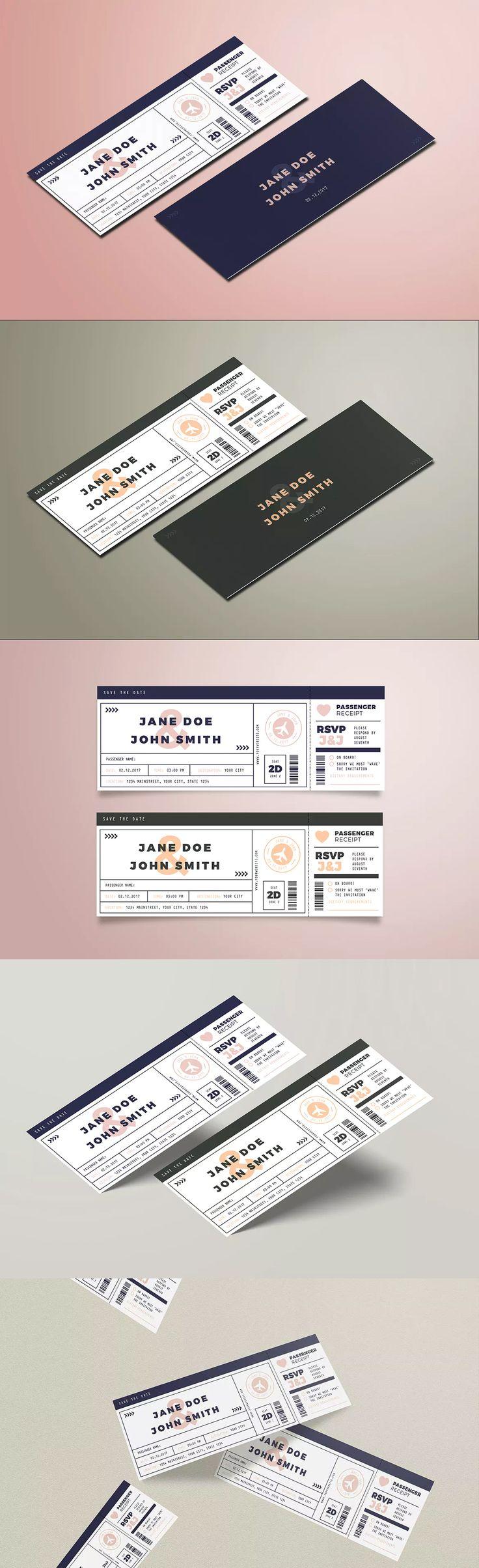 As 24 melhores imagens em wedding invitation card templates no pinterest boarding pass wedding invitation template ai psd stopboris Image collections