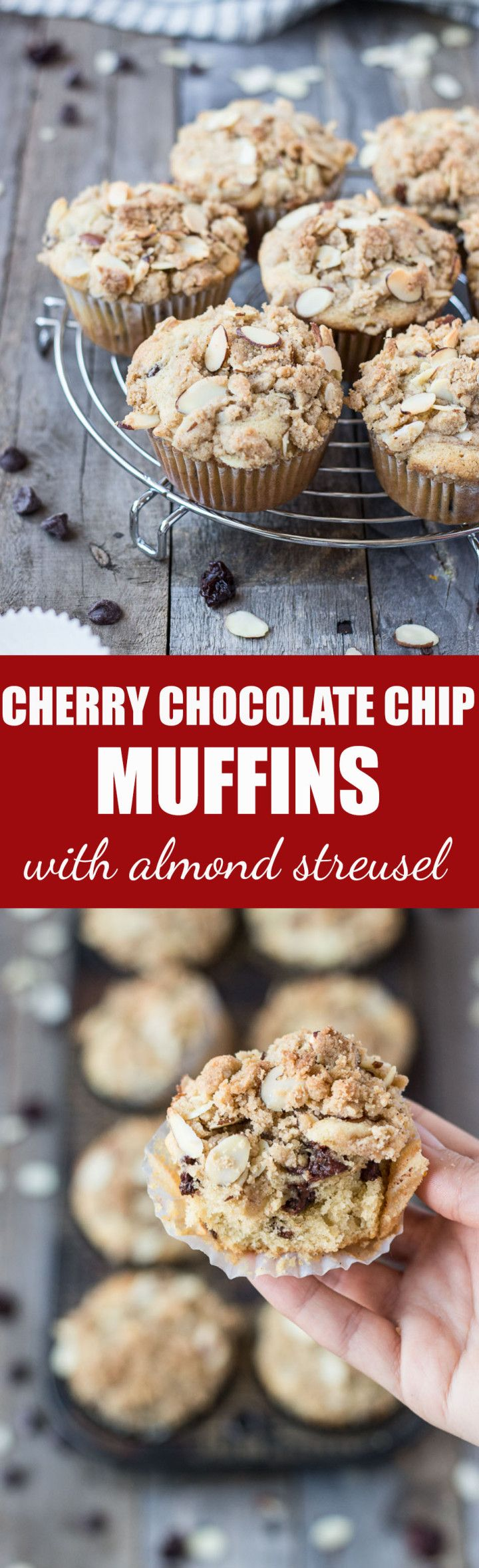 Cherry Chocolate Chip Muffins with Almond Streusel