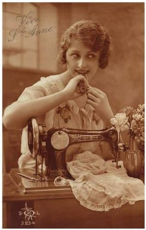 Vintage picture of lady sewing by Gmomma
