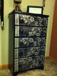 Sister See Sister Do: Furniture Stencil with Lace - Old piece of furniture, old lace curtain, spray paint = amazing transformation.